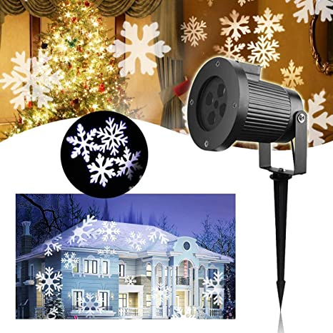 LED Proyector Luces de Navidad – VIDEN Lámpara de Proyector con Copo de Nieve de Dinámica, Exterior / Interior Impermeable IP65, Luz de Proyección ...