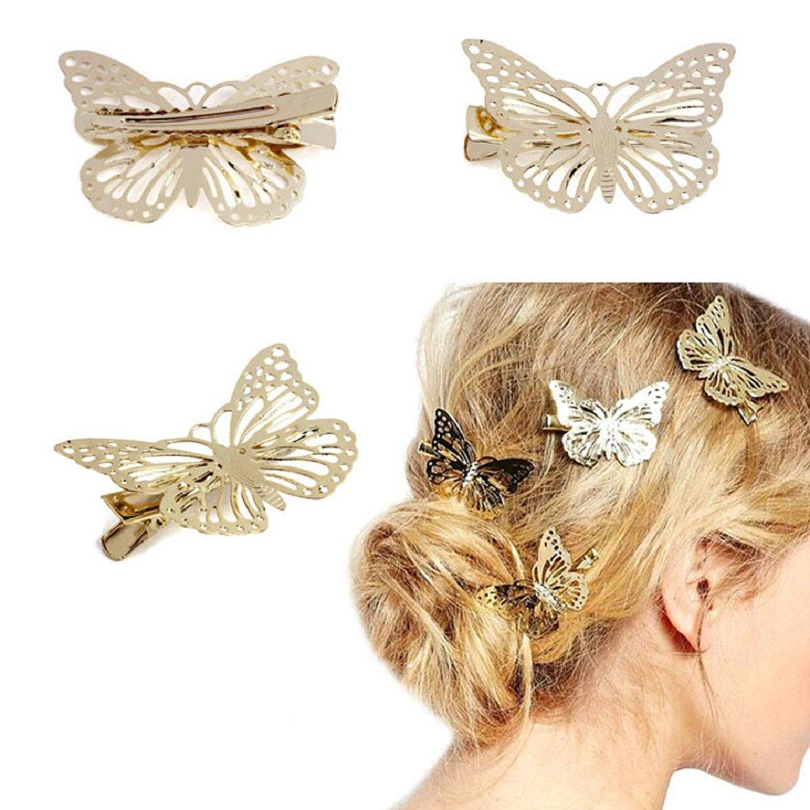 Culater® 1 Paar Frauen Dame Gold glänzend Schmetterling Haarspange Ukamshop311