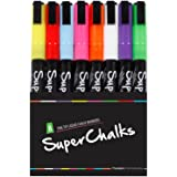 3mm Fine Tip - SuperChalks Color Liquid Chalk Marker Pens 8-Pack - ONLY SUITABLE FOR NON POROUS SURFACES