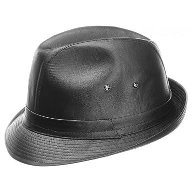 Lipodo Cappello in Pelle Imitata trilby tendenza 57 cm - nero  Amazon.it   Abbigliamento 9ae9b50dc170