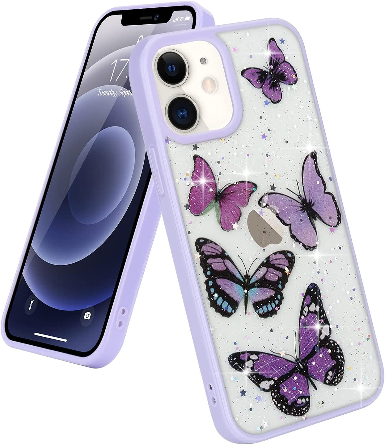 Urarssa Compatible with iPhone 7 Plus Case iPhone 8 Plus Case Cute Purple Butterfly Bling Glitter Clear Case for Women Girls Sparkle Stars Soft TPU Shockproof Protective Case for iPhone 7 Plus/8 Plus