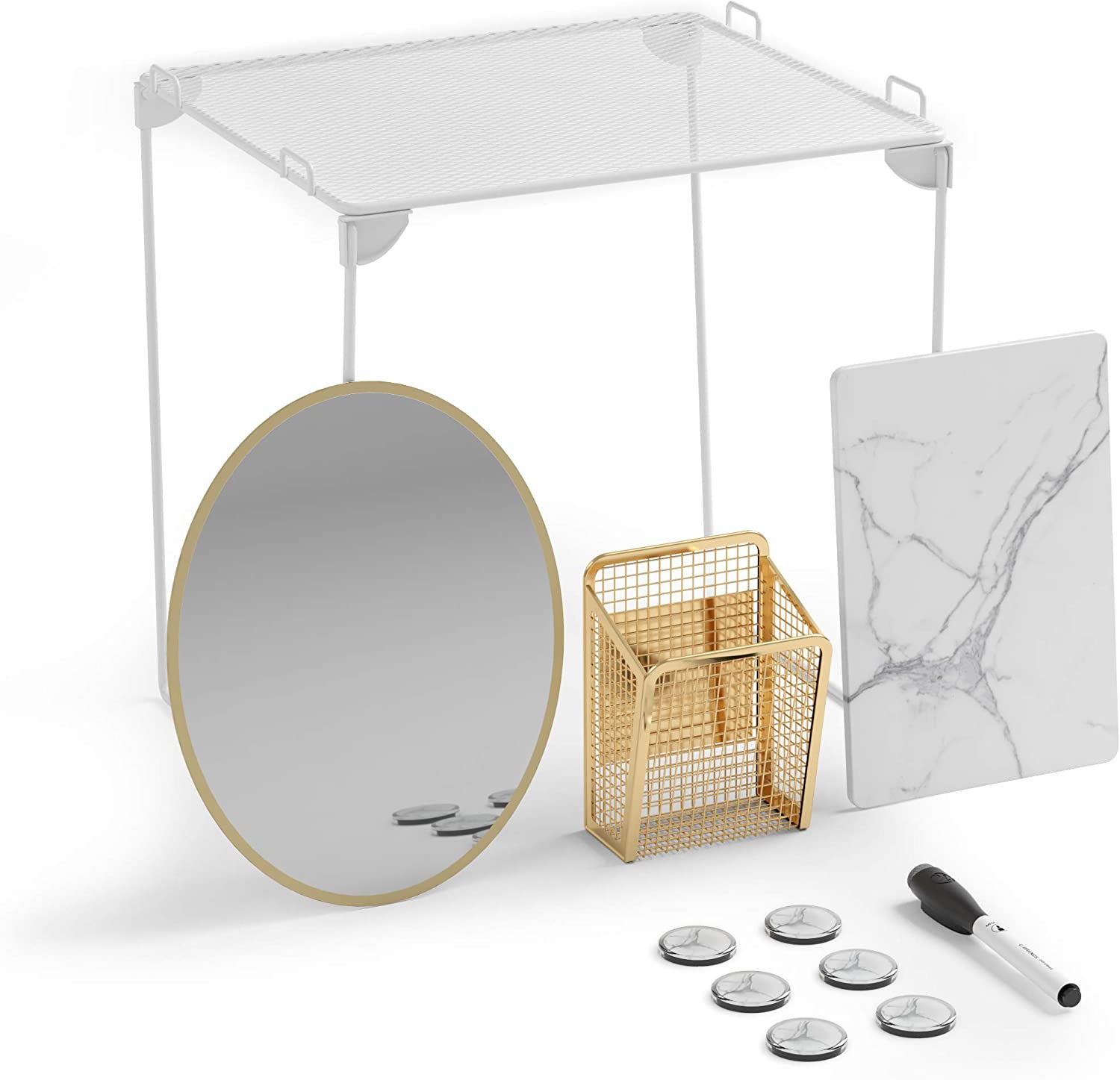 U Brands Locker Organizer and Decorating Kit, Back to School Essentials, Gold, 11-Piece, Includes Marble-Print Accessories, Mirror, Shelf, and More