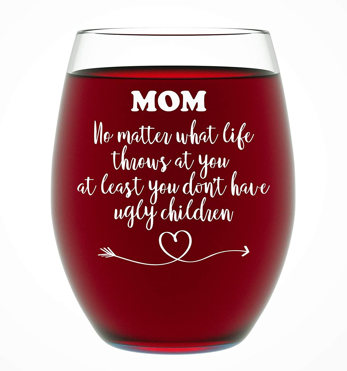Gifts For Mom From Daughter Or Son Funny Unique Novelty Stemless Wine Glass Christmas Mothers Day Moms Birthday Just Because Shes The Best