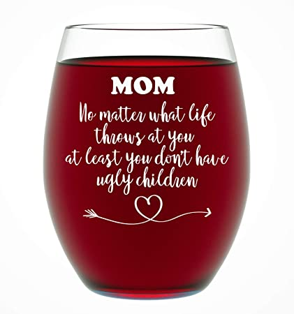 Gifts For Mom From Daughter Or Son Funny Unique Novelty Stemless Wine Glass Christmas