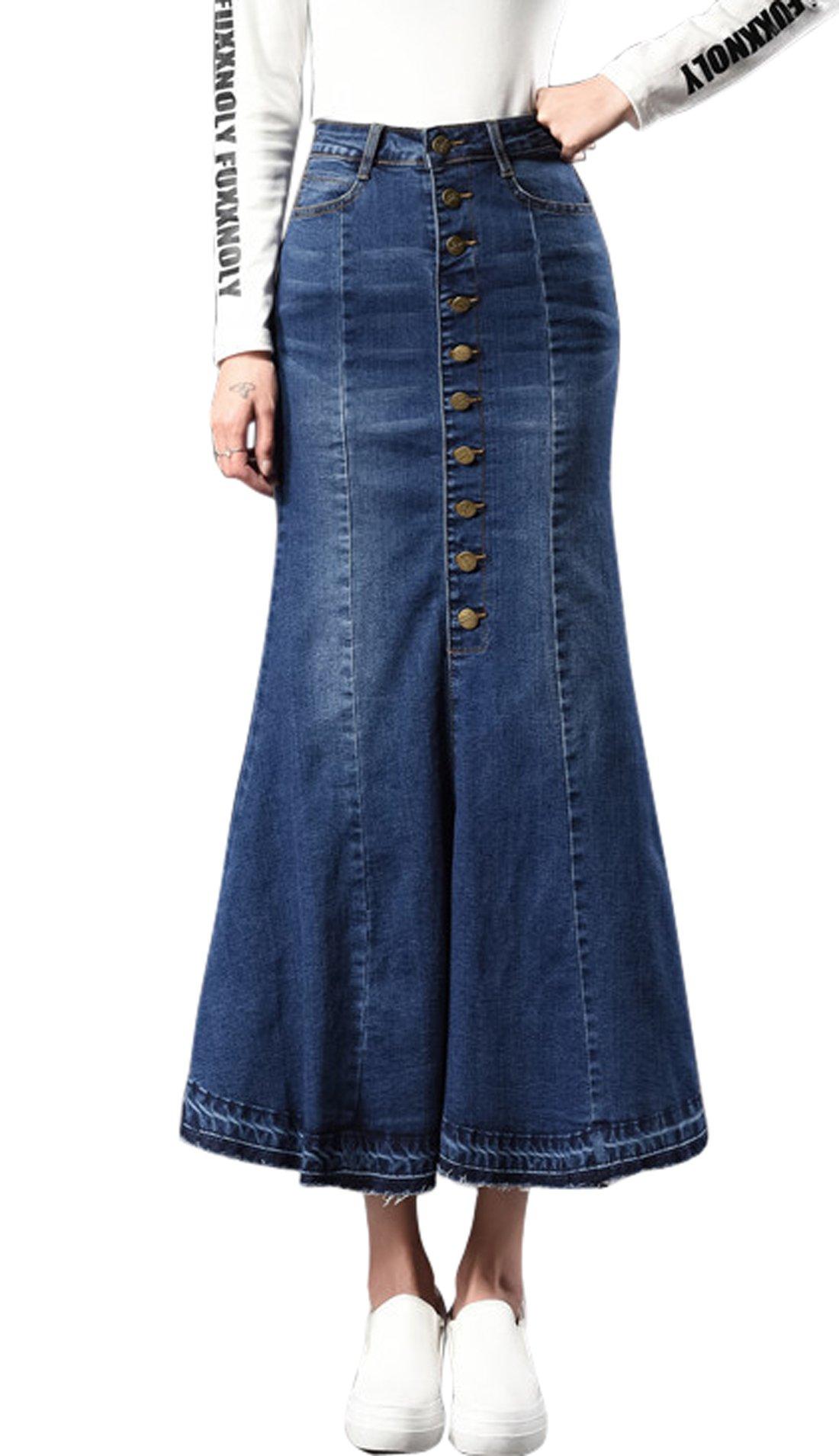 Chouyatou Women's Casual Stretch High Waisted Front Button Long Denim Mermaid Skirt (Medium, Blue)