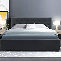 Double Bed Frame, Artiss Fabric Gas Lift Bed Frame Base, Charcoal