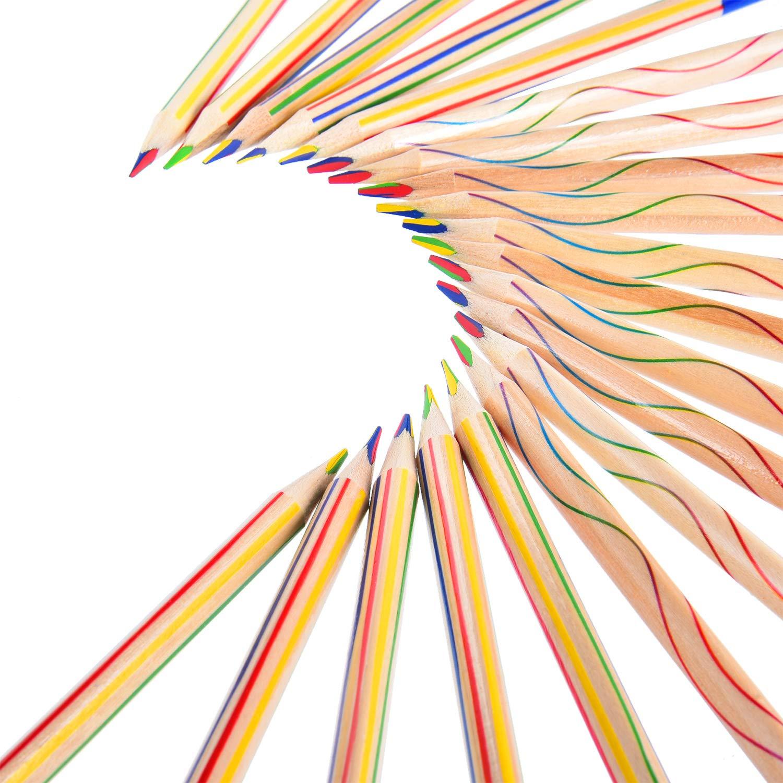 30 Pezzi Matita da Disegno 4 in 1 Set di Matita Colorato Arcobaleno per l'Illustrazione, la Colorazione e lo Schizzo Frienda 4336949506