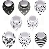 Set of 8 - Baby Bandana Drool Bibs for Boys and Girls, 100% Organic, Unisex Set for Teething and Drooling, Super…
