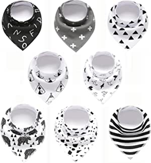 Set of 8 - Baby Bandana Drool Bibs for Boys and Girls, 100% Organic, Unisex Set for Teething and Drooling, Super Absorbent Soft Bibs
