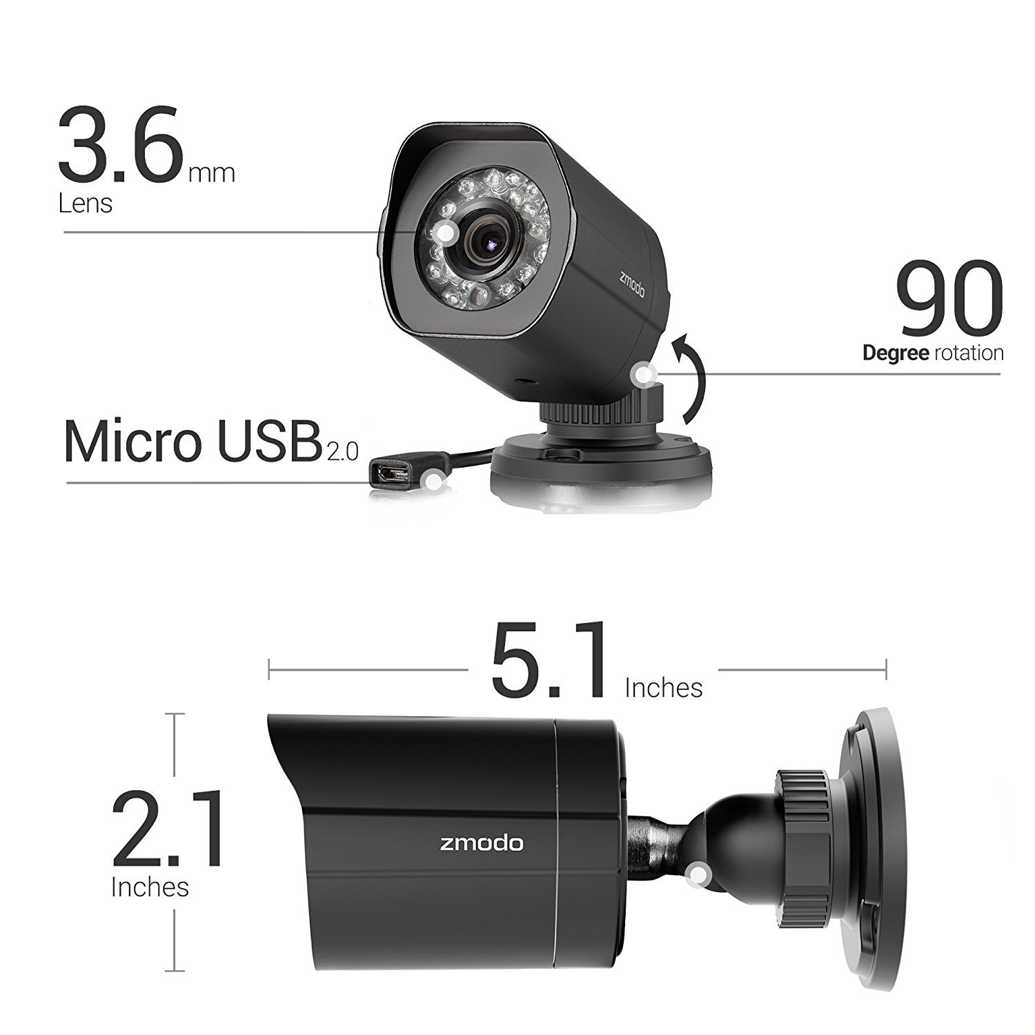Zmodo 2 Pack FULL HD 1080P Outdoor sPoE Security Camera w/8CH sPoE Repeater for Power & Data Transmission, Customizable Motion Detection(NVR not Included)-[FREE 6-Month Cloud Service for Recording]