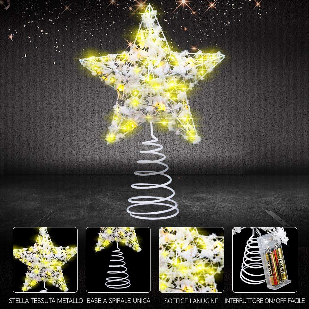 Weihnachtsbaumspitze Stern Weihnachtsbaum Stern Baumspitze Stern Baumschmuck beleuchtete Christbaumspitze in warmwei/ß VersionTECH