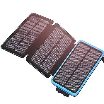 YFQH Cargador Solar -24000mAh con 3 Paneles solares Batería Externa portátil de Carga rápida (Solar) con Entrada de 2A USB 2.1A Smartphone Compatible