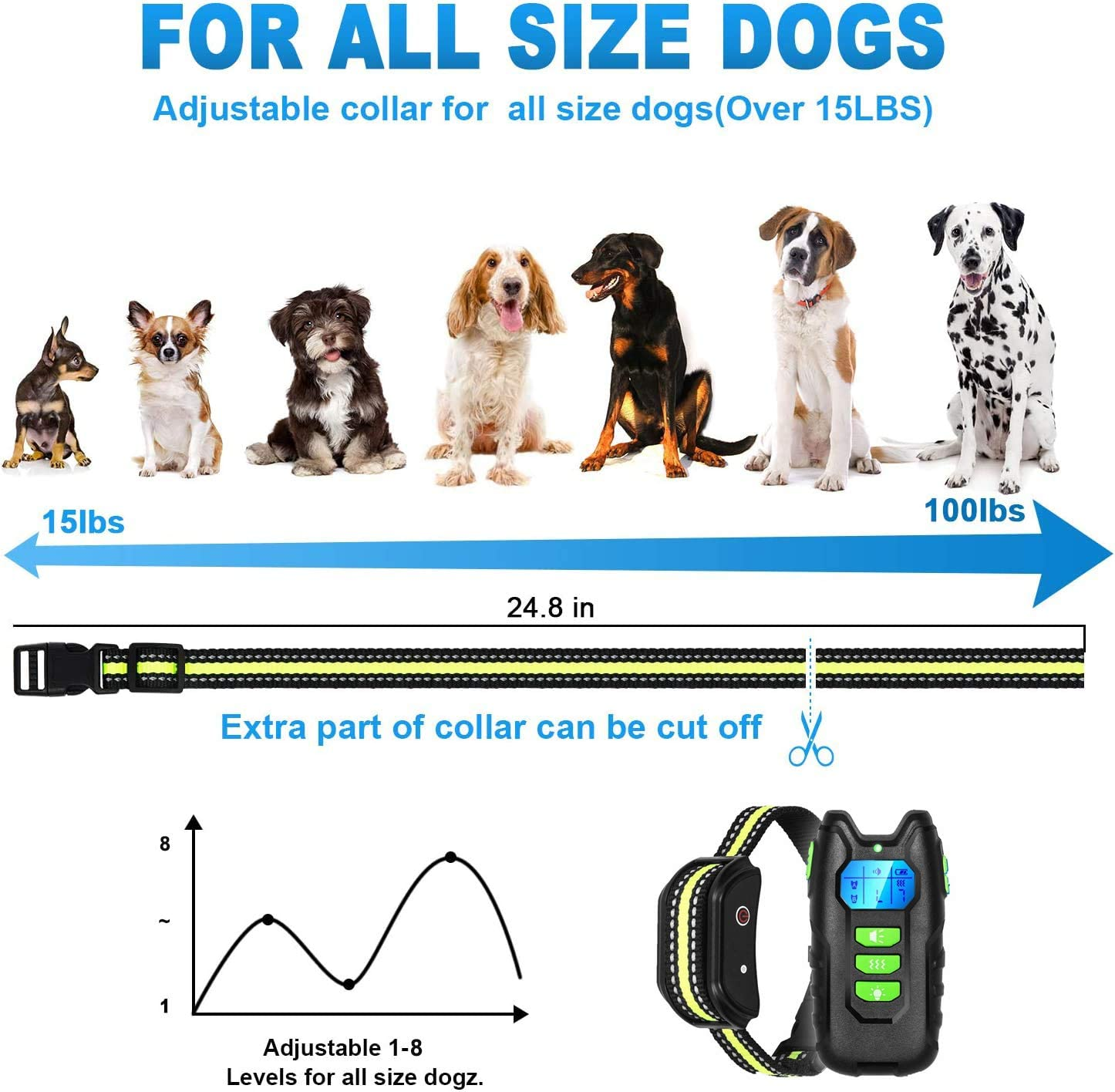 Dog Training Collar with Remote Rechargeable Waterproof Home Dog Training Device Controller Safe Behavior Correct Dog Trainer for Small Medium Large Dogs Up to 1000Ft Remote Range