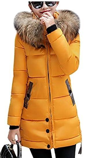 YOJAP Damen Herbst Winter Jacke Damen Warmer Wintermantel Winterjacke mit Hochwertigem Kunst Fellkapuze Lang Parka