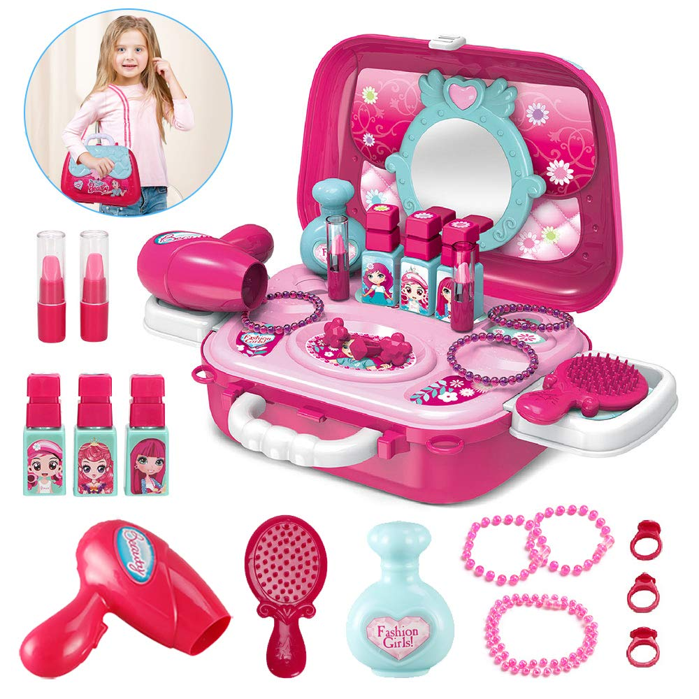 Pickwoo Kids Makeup Kit for Girl, Pretend Play Make Up Set, Little Girls Makeup Set, 20 Pieces Dress Up Playset Toys Case