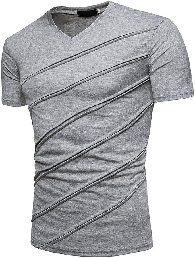 Overdose Camiseta de Manga Corta Top Fold Blusa Personalidad de la Moda Hombre Casual Slim fit Color sólido Negro básico con Cuello en v: Amazon.es: Ropa y accesorios