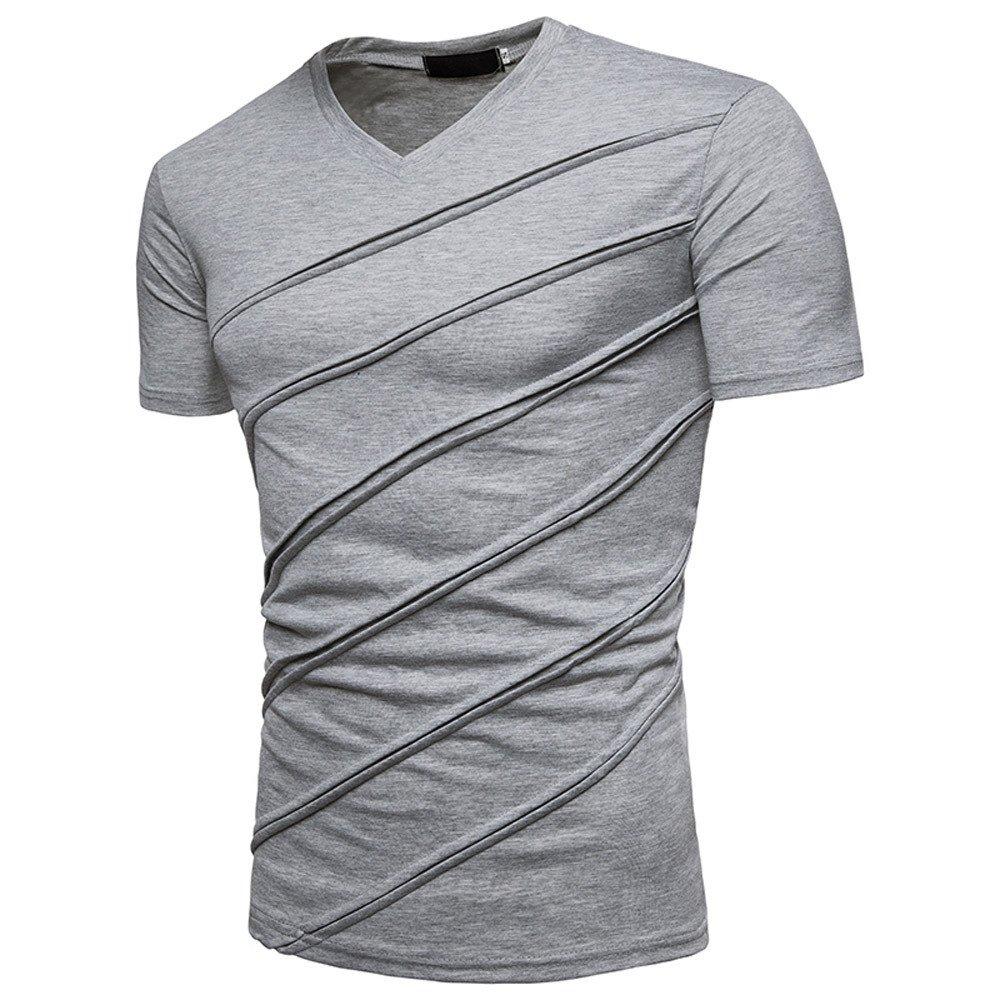 CIELLTE Occasionnels Couleur Unie Manche Courte Hommes T-Shirt De Travail Blouse Casual Slim Shirts Chemisier Chemise
