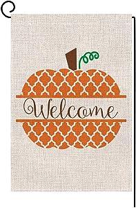 BLKWHT 175209 Welcome Fall Pumpkin Small Garden Flag Vertical Double Sided 12.5 x 18 Inches Farmhouse Autumn Burlap Yard Outdoor Decor