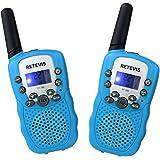 Retevis RT388 Talkies Walkies Enfants PMR446 8 Canaux Écran LCD Fonction VOX 10 Tonalités d'Appel Verrouillage des Canaux Lampe de Torche (Bleu, 1 Paire)