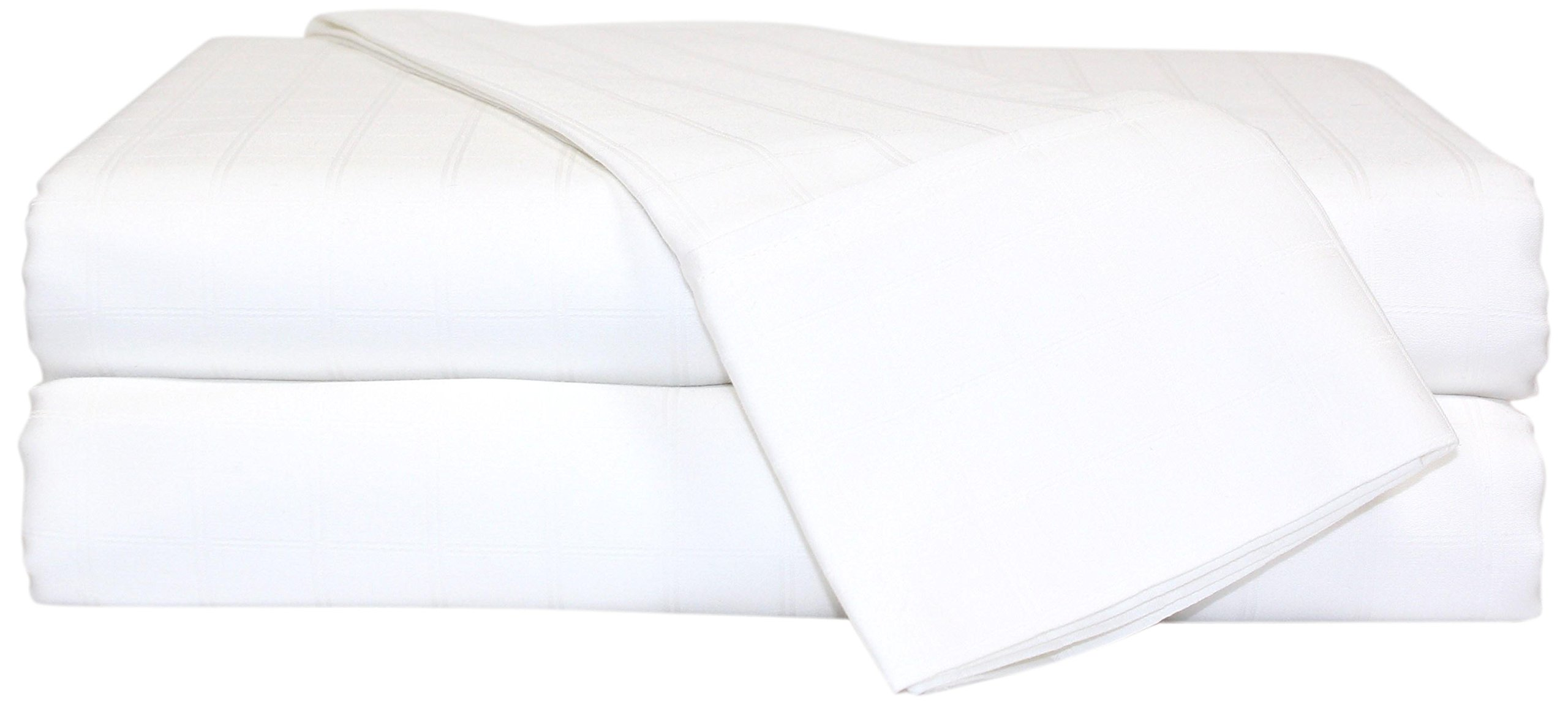 Perthshire Platinum Collection 480 Thread Count 1-inch Square Window Panel Sheet Set Solid Hem, Extra Soft - Breathable & Cool Sheets - Hypoallergenic, Queen, White