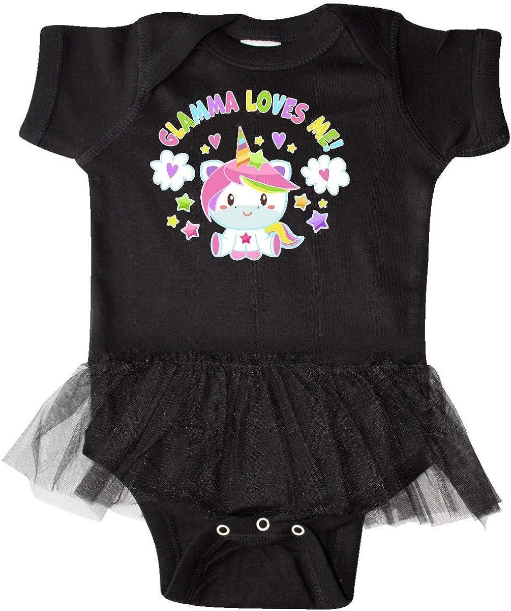 inktastic Glamma Loves Me with Cute Rainbow Unicorn Infant Tutu Bodysuit