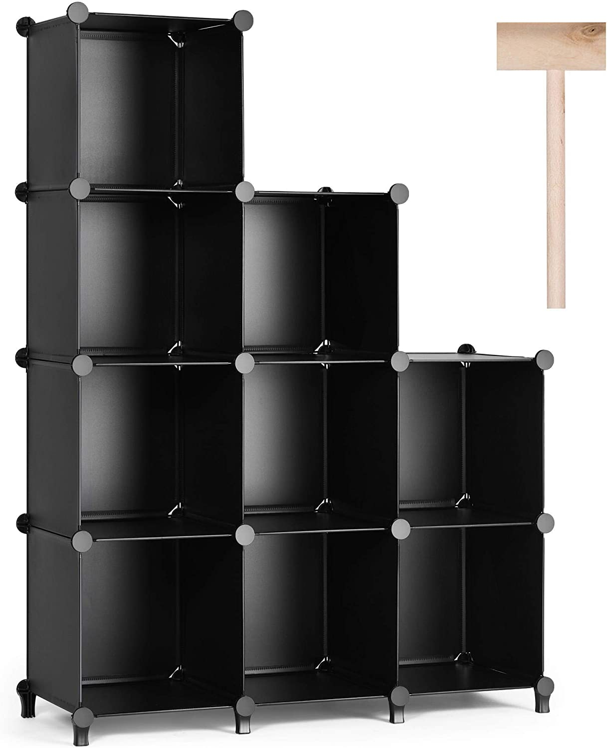 Puroma Cube Storage Organizer 9-Cube Closet Storage Shelves with Rubber Hammer DIY Closet Cabinet Bookshelf Plastic Square Organizer Shelving for Home, Office, Bedroom - Black