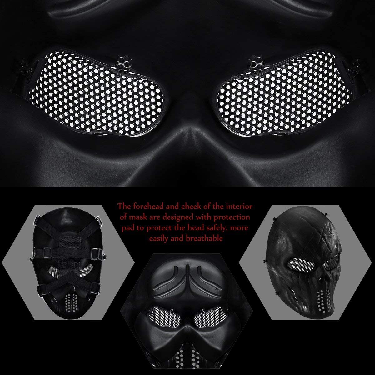 Halloween Mask Full Face Skull Mask Tactical Mask with Metal Mesh Eyes Protection (Black)