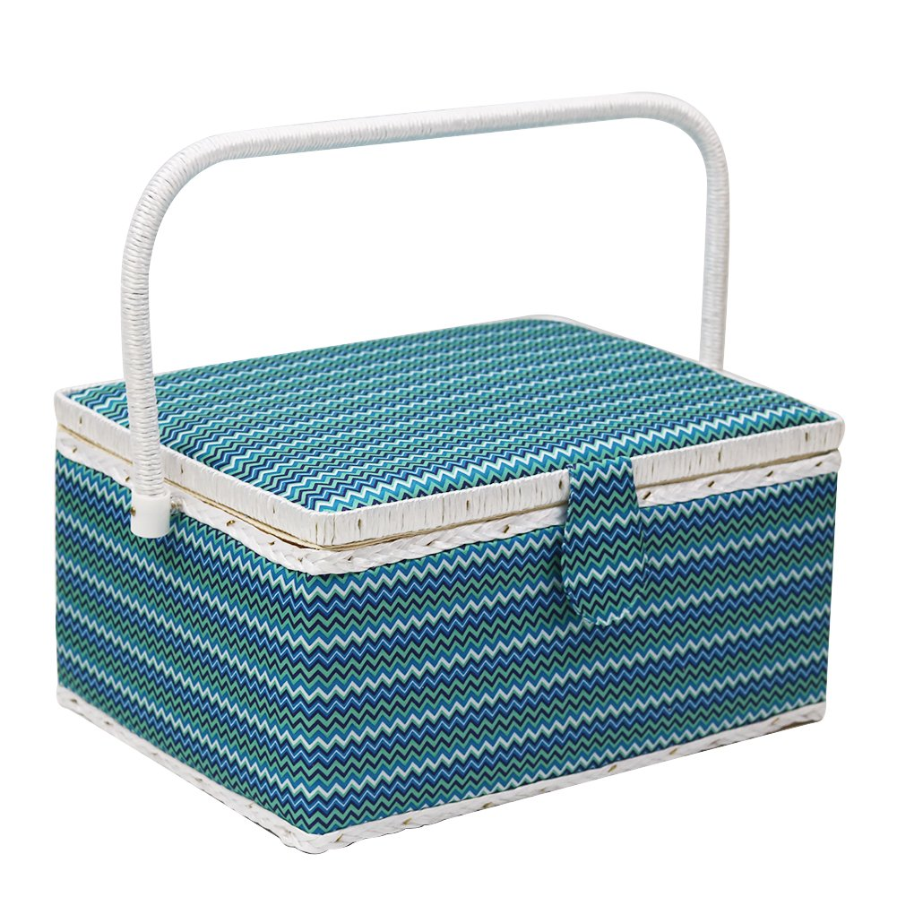 D& D Sewing Basket with Sewing Kit Accessories | Wooden Sewing Basket Kit for Sewing Mending - Wave Blue DS1109