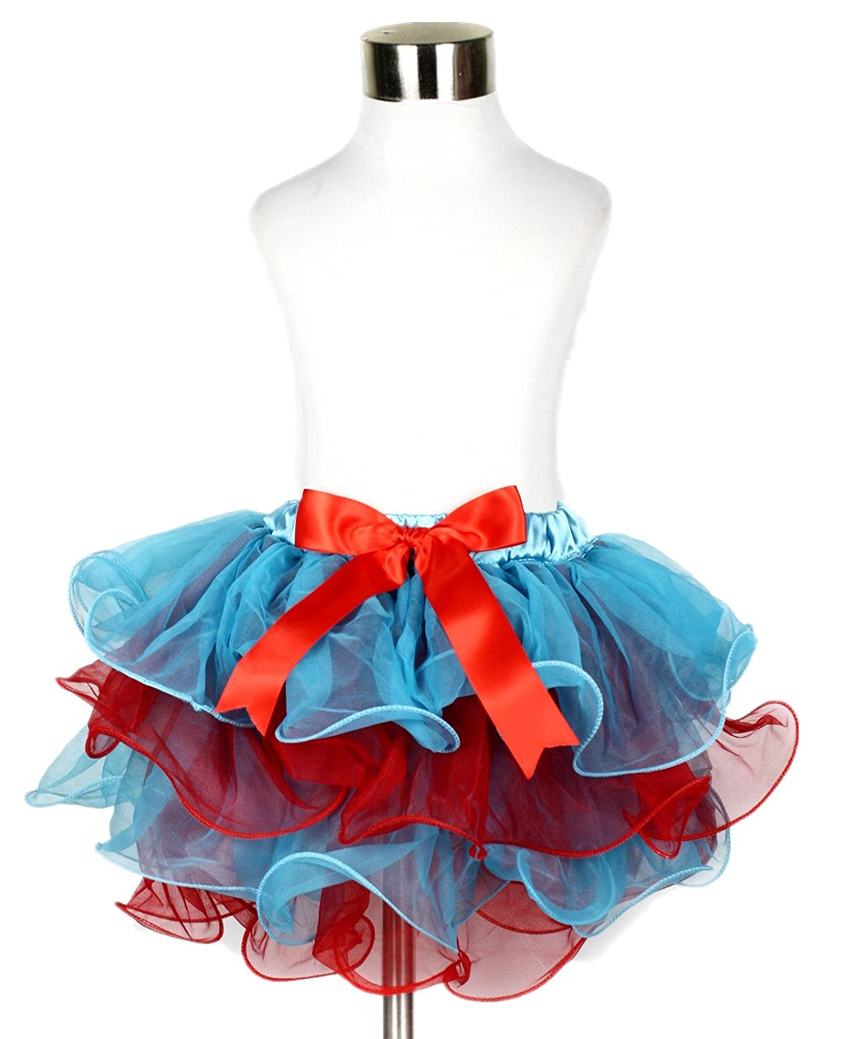 Petitebella Peacock Blue Red Petal Skirt Nb-8y
