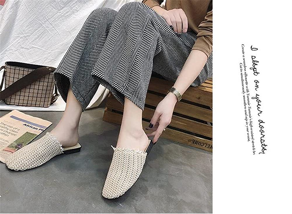 Believed Fashion Leather Flat Slippers Woman Shoes Slip On Loafers Mules Flip Flops