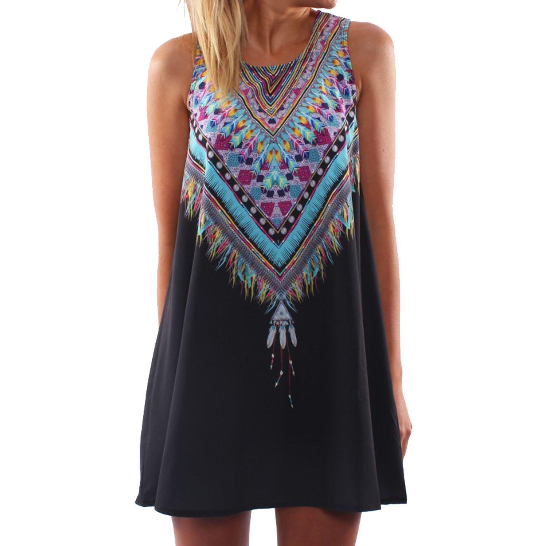 SUNNOW® Damen Sommerkleid Strandkleid elegant mit Blumen bedruckt Rundhals Ausschnitt ärmellos Frauen Abendkleid Partykleid Rock Modisch