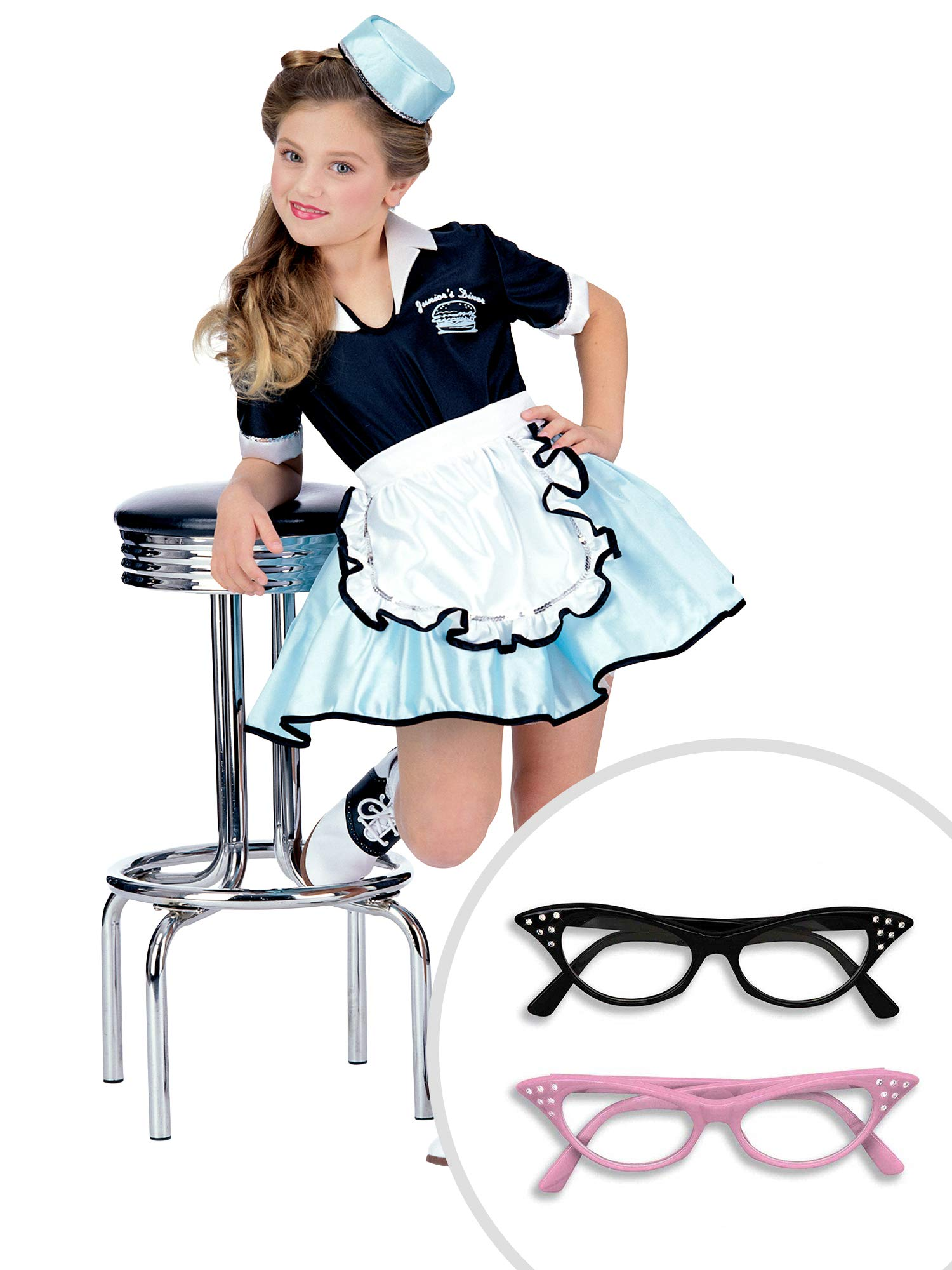 50s Car Hop Costume Kit Kids Large With Cat Eye Clear Glasses