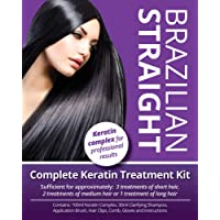 Brazilian Straight, Keratin Home Use Treatment Kit, Salon Quality Hair Straightening  Blow Dry  Smoothing, 100ml, Great Gift  Present