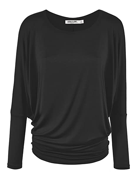 dc76c48de Lock and Love Women' s Flowy and Comfort Draped Long Sleeve Batwing Dolman  top S-3XL Plus Size_Made in U.S.A.