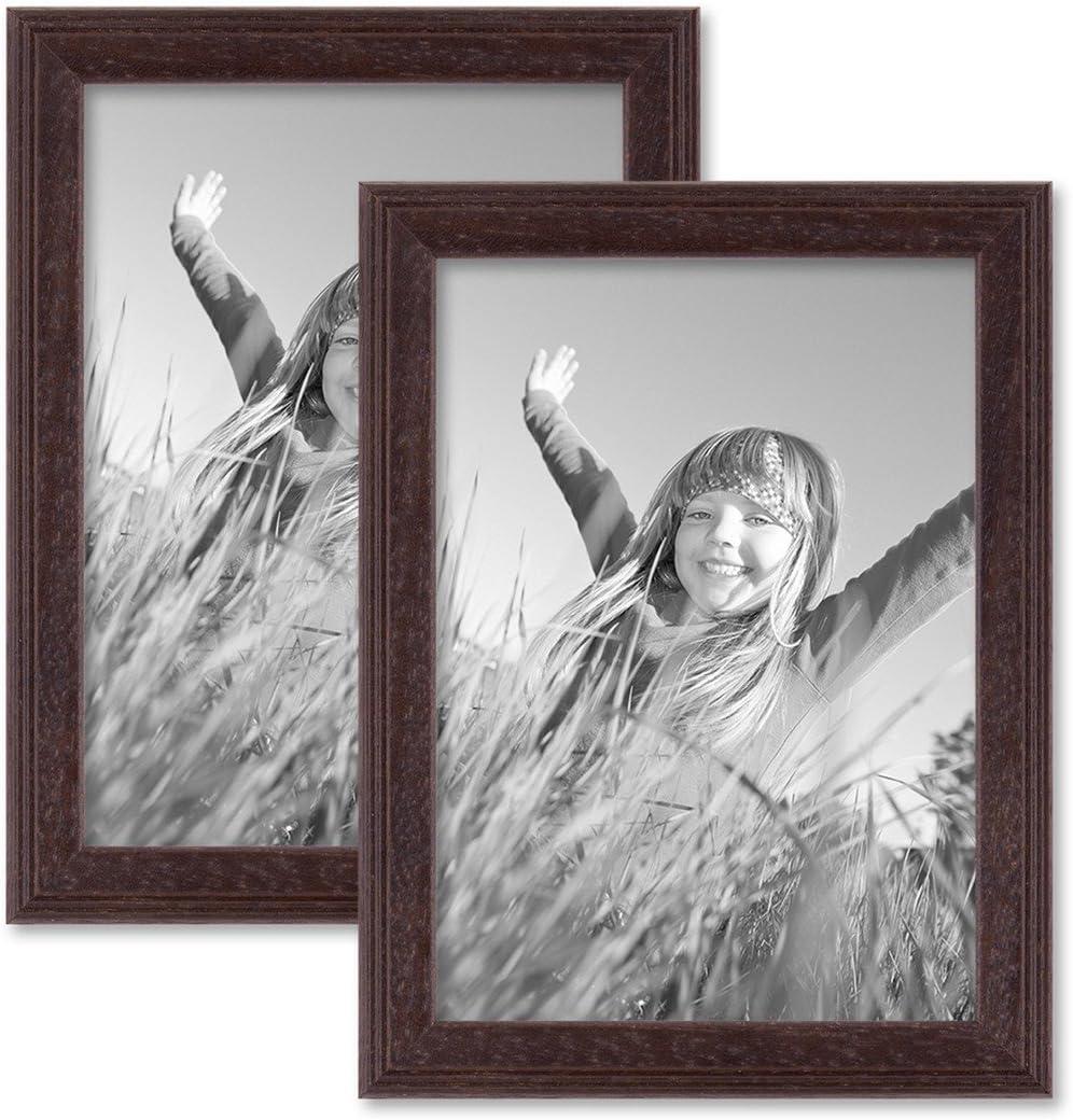 Photolini 2er Set Landhaus-Bilderrahmen 10x10 cm Eiche-Optik Massivholz mit Glasscheibe und Zubeh/ör//zum Stellen oder H/ängen//Fotorahmen