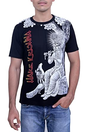 060ec71d FashionSeva Men's Cotton Krishna Printed T-shirt (Black, XL): Amazon ...