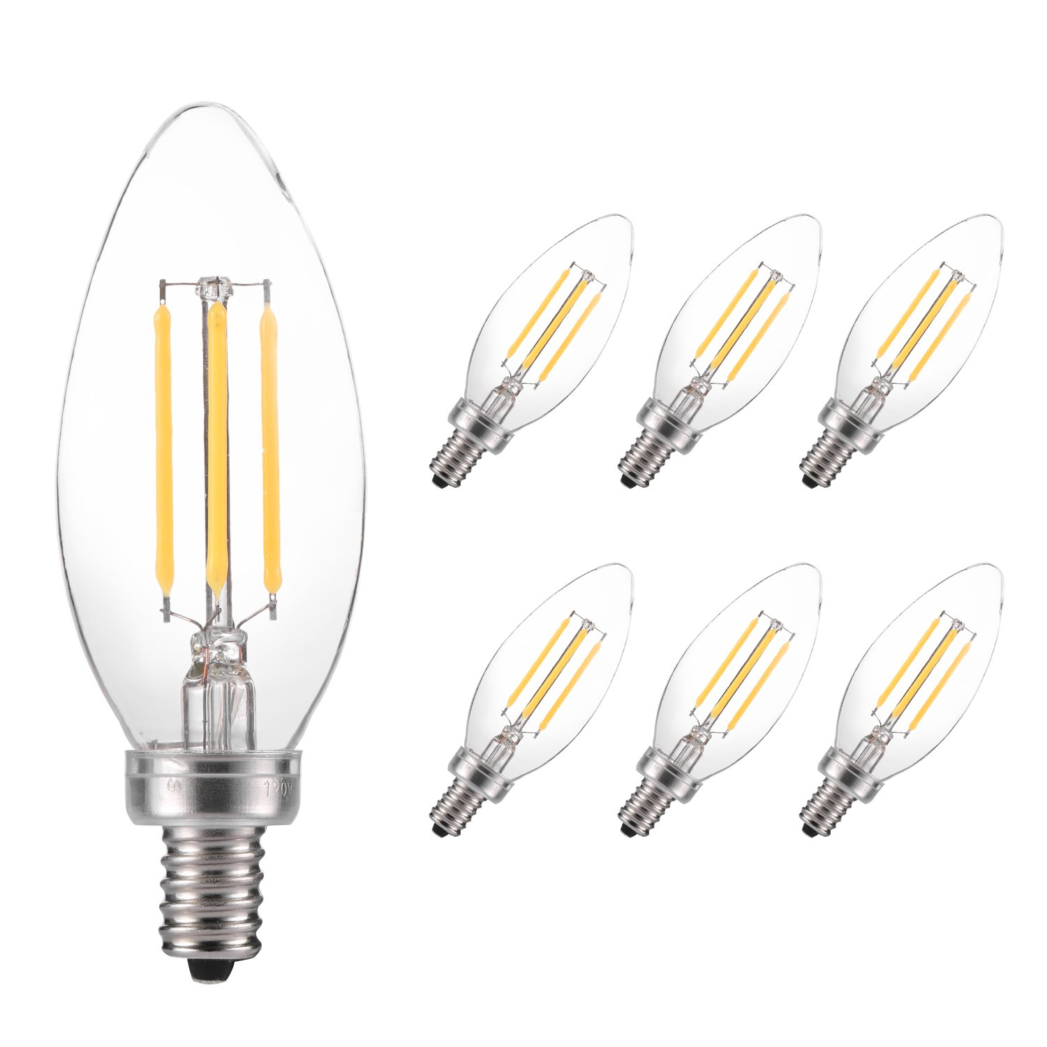 Antique LED Bulb, LESHP Filament Flame Light Bulb Candelabra Bulbs 360° Beam Angle Complied with RoHS Directive for Home,Kitchen,Dining Room,Bedroom,Living Room (5W-6Pack-Light Bulb)