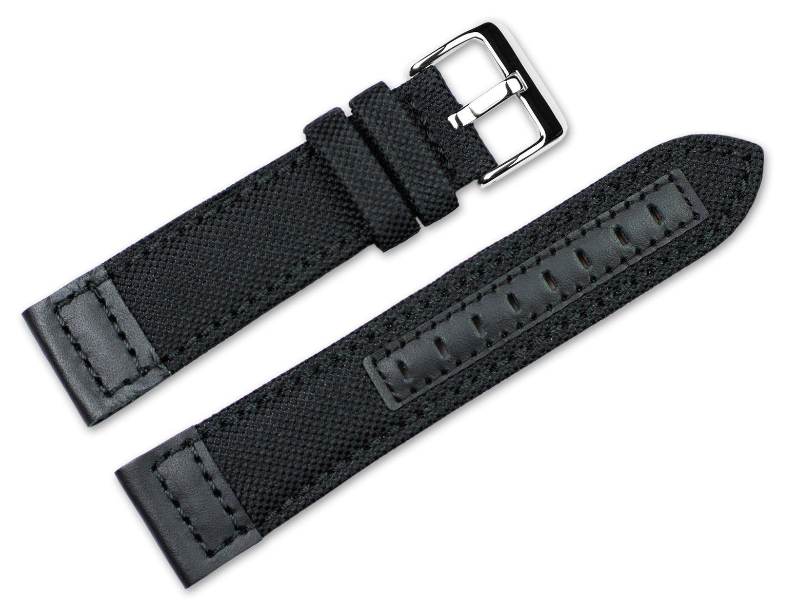 20mm Replacement Watch Band - Nylon Canvas with Leather Trim - Black Watch Strap