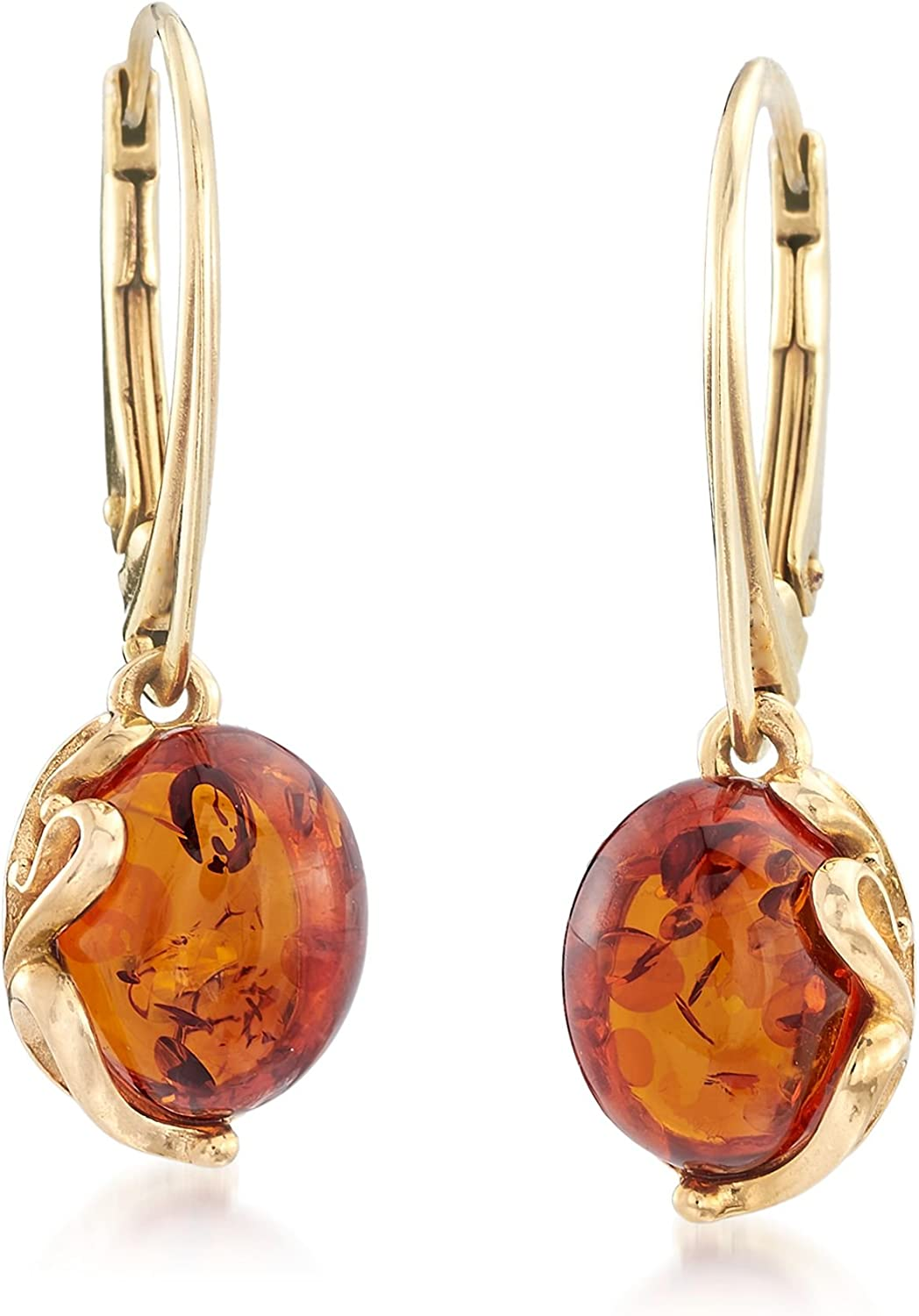 Amber Dangle Earrings,14K Yellow Gold Post and Push Backs