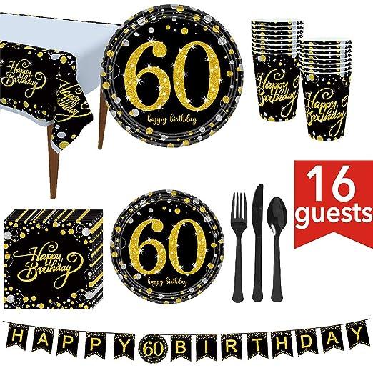 Ycncixwd Suministros para fiesta de 60 cumpleaños 114 piezas ...