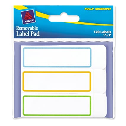 amazon com avery removable label pad 1 x 3 inches assorted