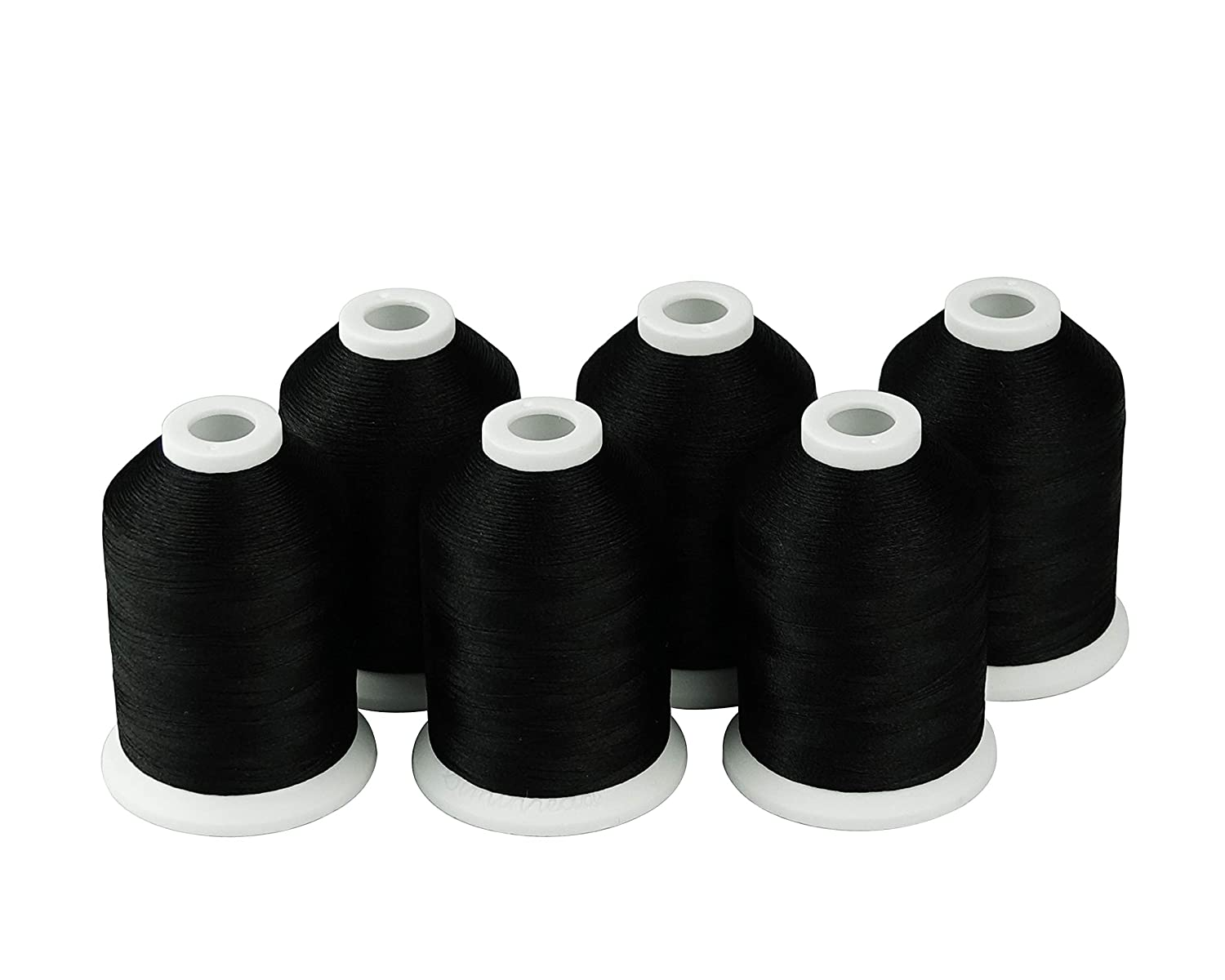 Polyester Machine Embroidery Threads for Brother Babylock Janome Singer Pfaff Husqvarna Bernina Embroidery and Sewing Machines Simthread 6 Black 1000M 1100Y