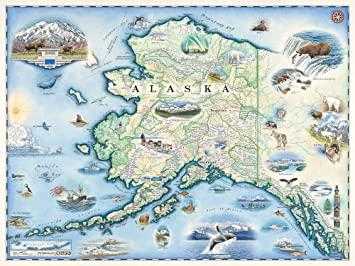 Amazon alaska map wall art poster authentic hand drawn maps alaska map wall art poster authentic hand drawn maps in old world antique style gumiabroncs Image collections