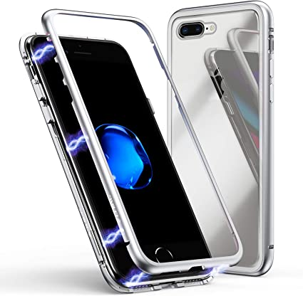 ZHIKE Custodia per iPhone 7 Plus8 Plus, Custodia ad Assorbimento Magnetico Ultra Sottile Vetro temperato con Cover Magnetica Integrata per iPhone 7