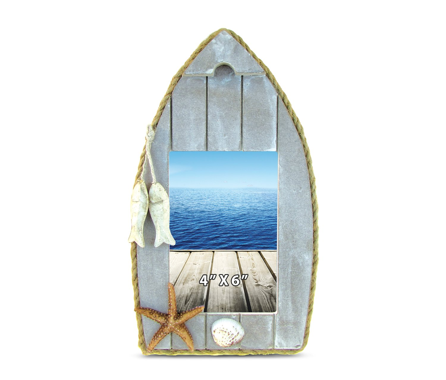 Nautical Beach Theme Home Decor Puzzled Coastal 4 x 6 Distressed Wooden Sail Boat Picture Frame Lake House Cruise Decoration Back Easel Handcrafted for Tabletops Office Desktop Tabletop Accent