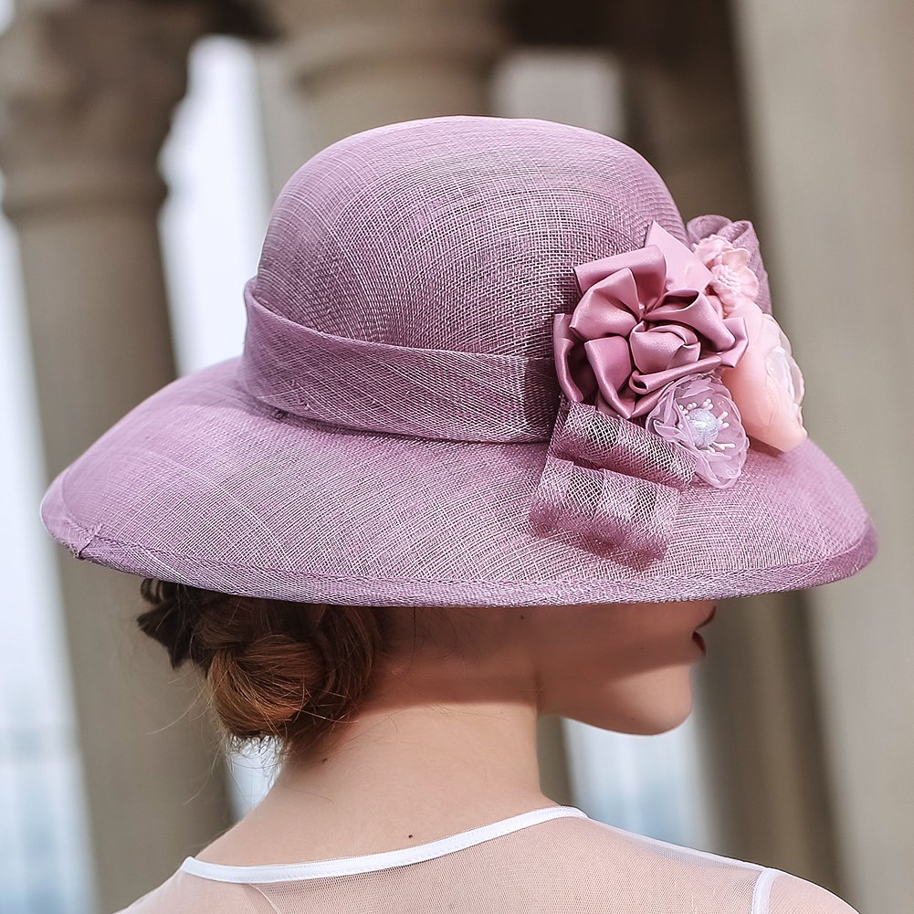 KUEENI Women Hats Church Hats Elegant Lady Sinamay Hats Black Color (Purple) by KUEENI (Image #5)