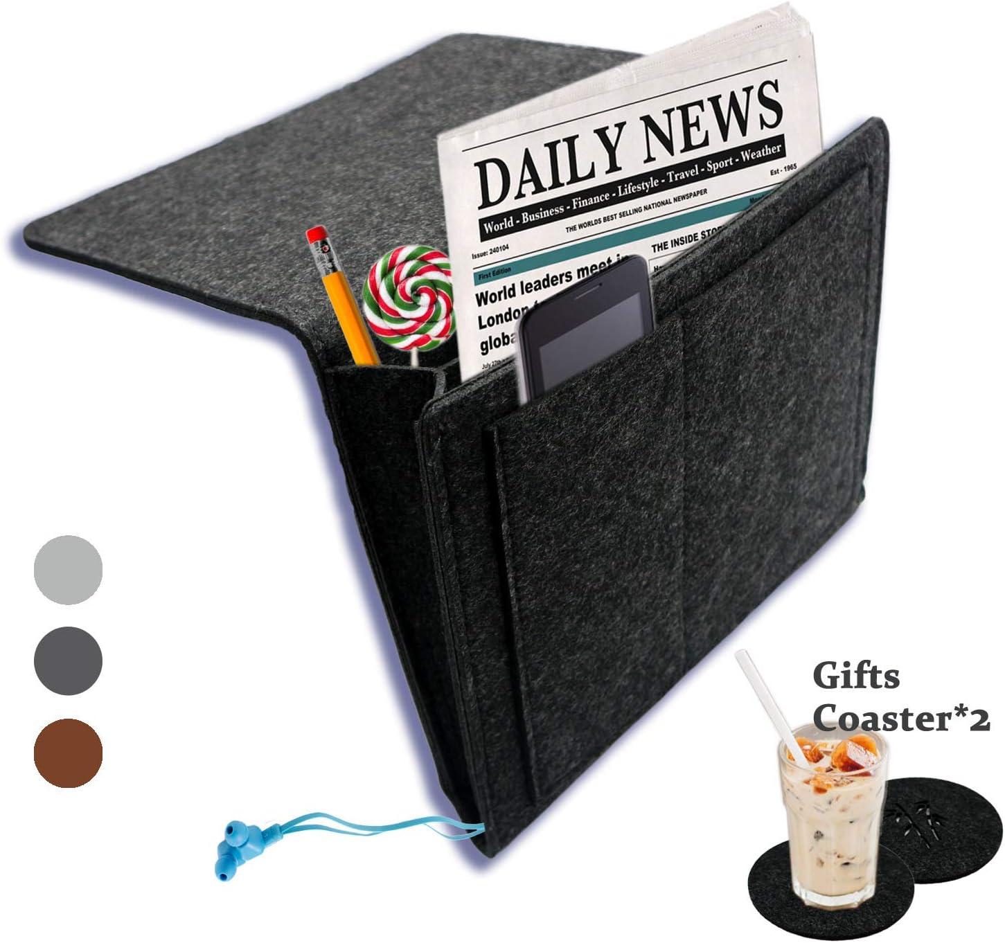 sofa h/ängeaufbewahrung 4 Taschen /& Seitenloch bettablage zum einh/ängen Handy Zeitschriften Dunkelgrau iPad Filz Betttasche f/ür Buch Weekend/&Lifecan betttasche h/ängetasche