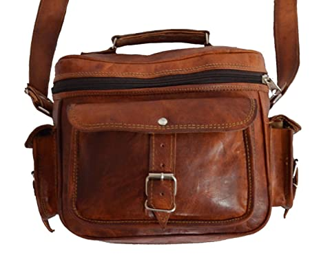 8665c3101c Digital Rajasthan Genuine Leather Messenger Real Goat leather Satchel Shoulder  Bag for Camera Size 9 x 6 x 5 inches.  Digital Rajasthan  Amazon.in  Bags