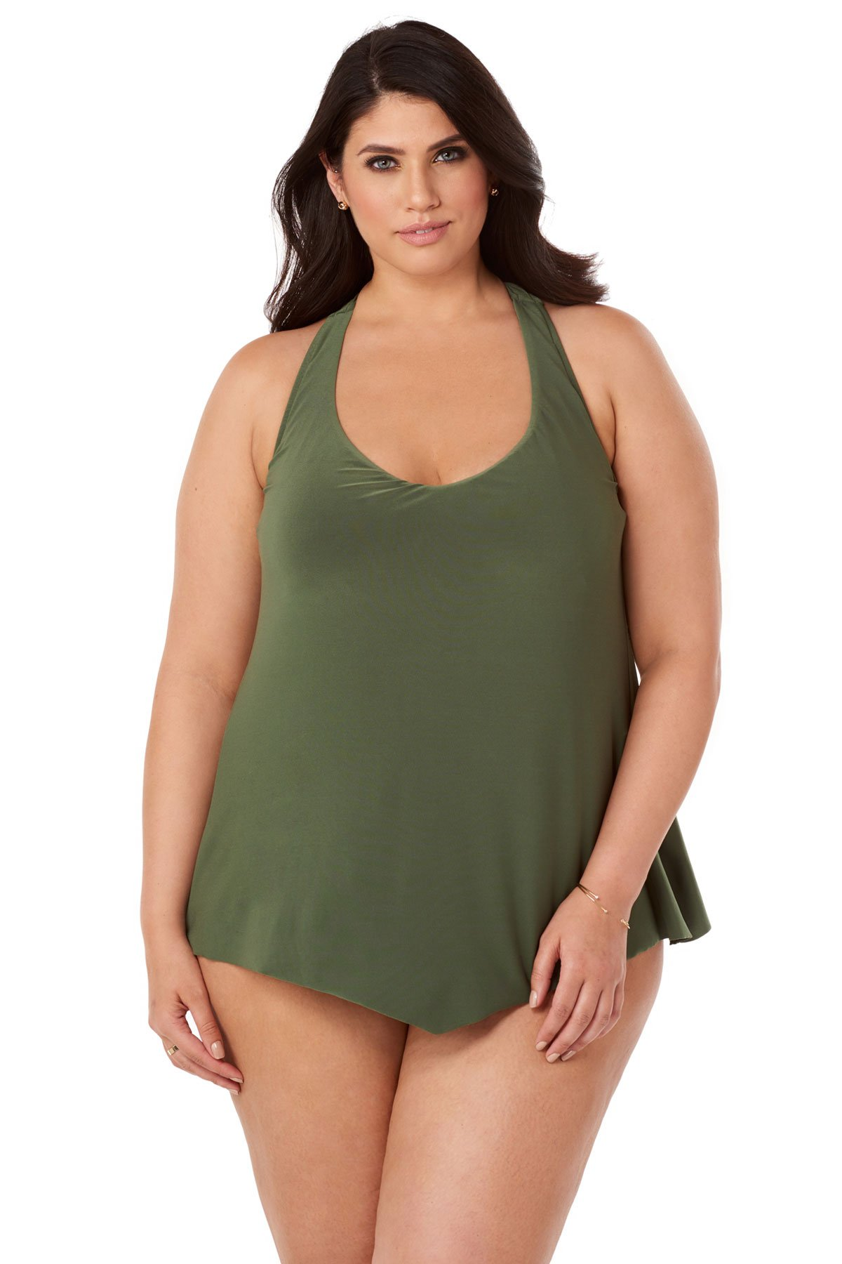 Magicsuit Women's Plus Size Taylor Underwire Racerback Tankini Top Olive 22W
