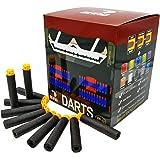 EKIND 200 Pcs 7.2cm New Design TPR Waffles Soft Head Darts Refill Foam Bullet for Nerf N-Strike Elite AccuStrike Series Blasters Toy Gun (Black)